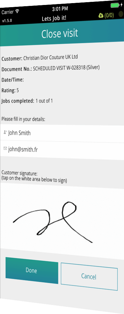 customer sign-off